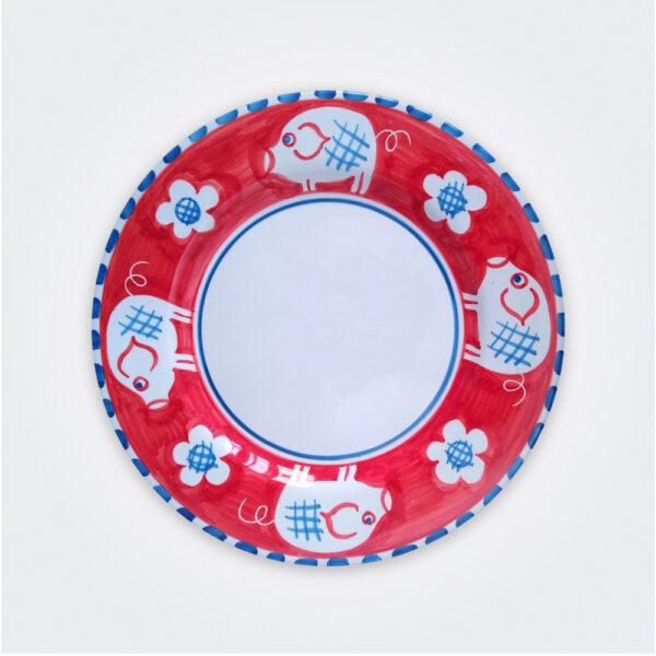 Pig ceramic pasta plate product picture.