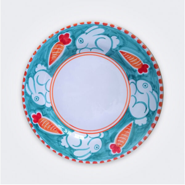 Rabbit ceramic dinner plate product picture.