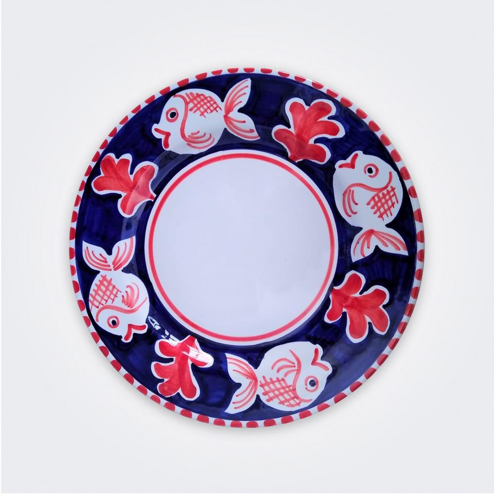 Red Fish Ceramic Pasta Plate