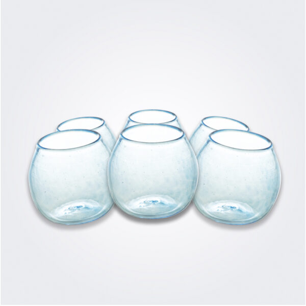 Turquoise stemless wine glass set product picture.
