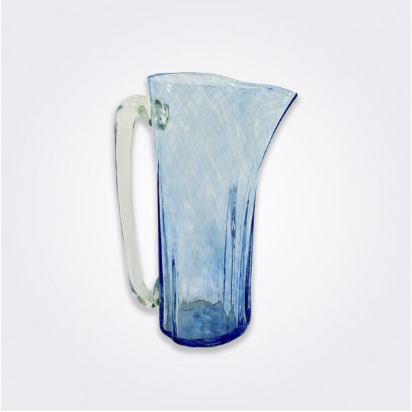 Turquoise glass pitcher product picture.