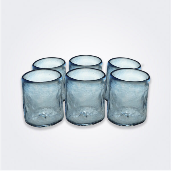 Turquoise glass tumbler set product picture.