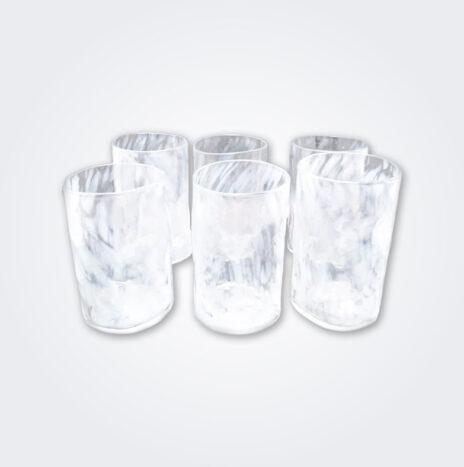 White Glass Highball Set