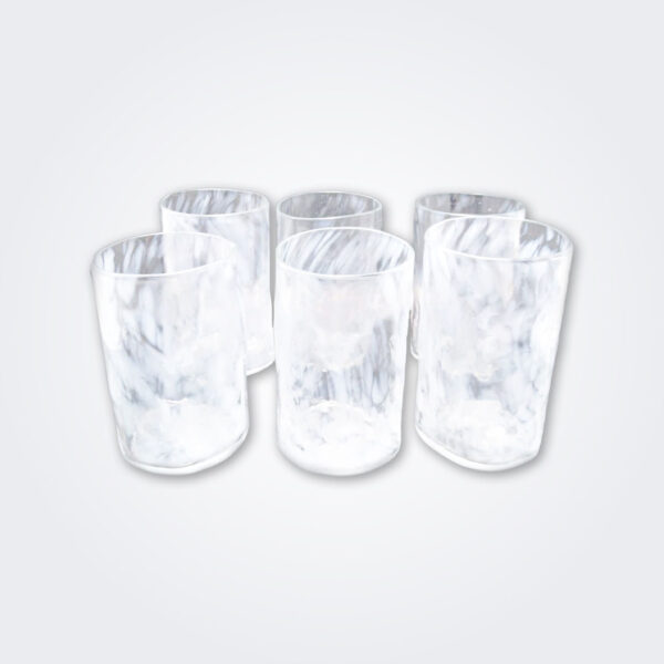 White glass highball set product picture.