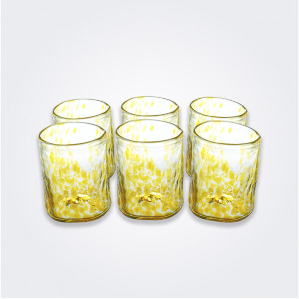 Yellow dots glass tumbler set product picture.