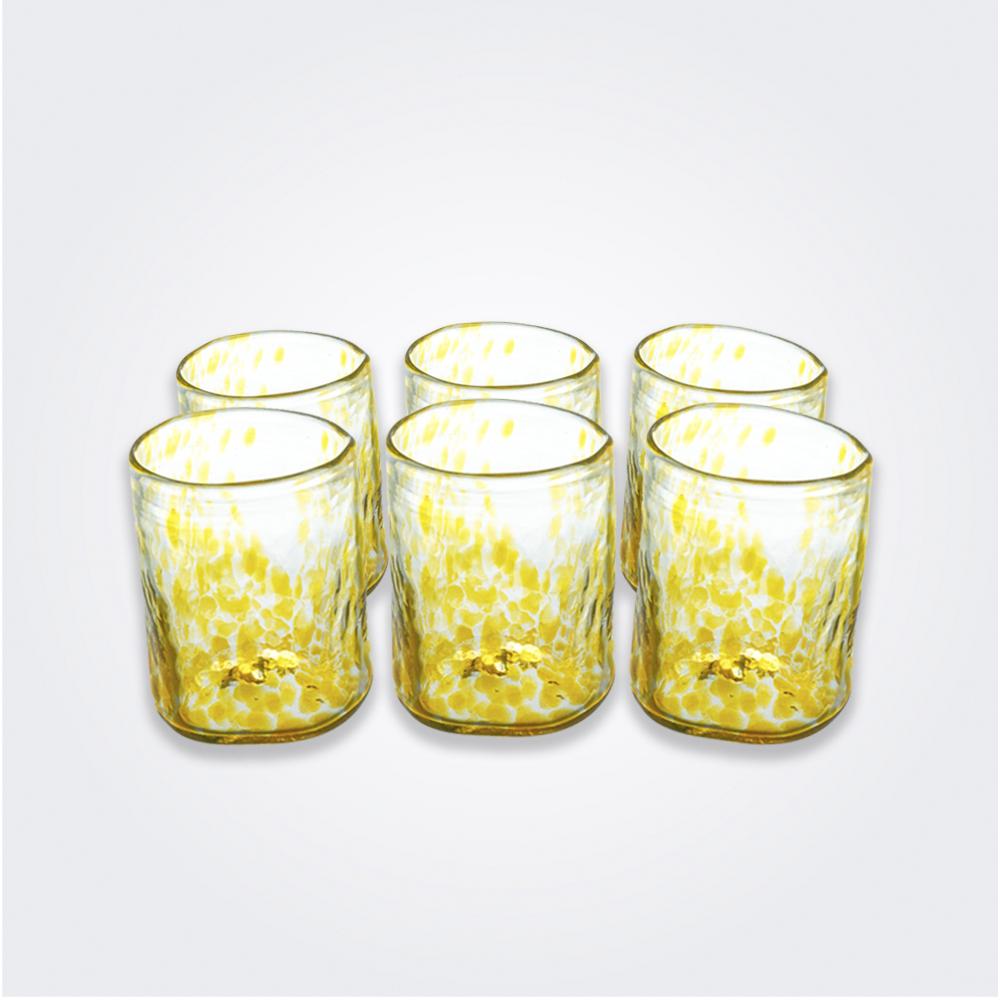 Yellow Dots Glass Tumbler Set