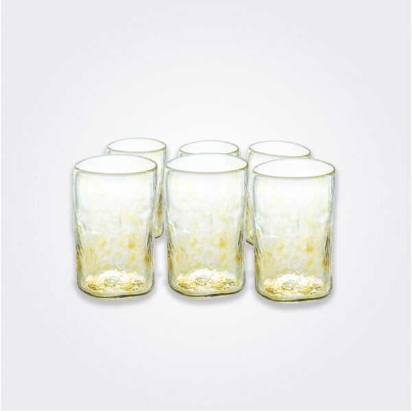 Yellow dots highball glass set product picture.