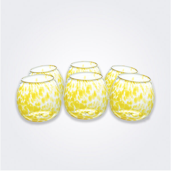 Yellow dots stemless wine glass set product picture.