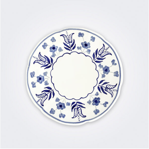 Blue flowers ceramic dinner plate product picture.