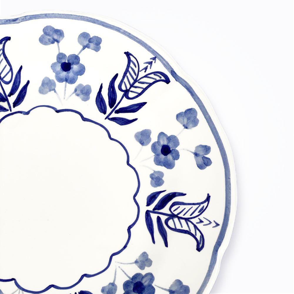 Blue flowers ceramic dinner plate detail pic