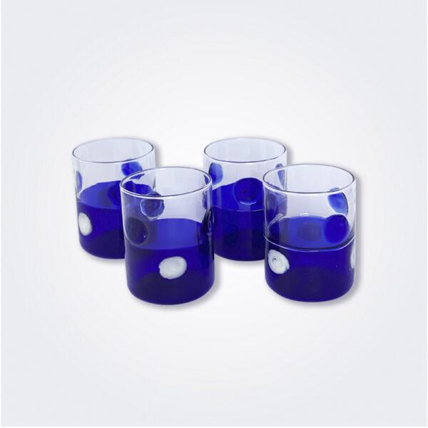 Blue dots glass tumbler set product picture.