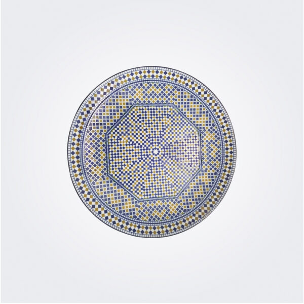 Gold and blue Cocema dinner plate product picture.