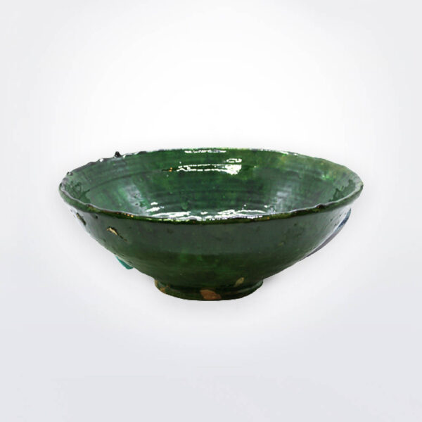 Green Tamegroute bowl on gray background.