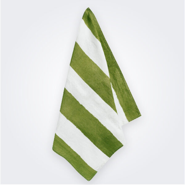 Green striped linen napkin product picture.