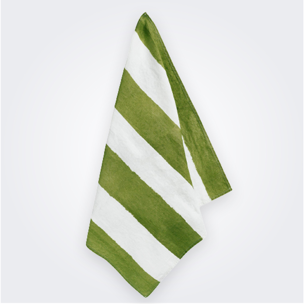 Green Striped Linen Napkin 1