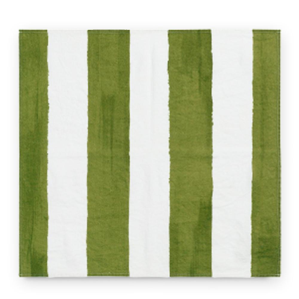 Green Striped Linen Napkin 2