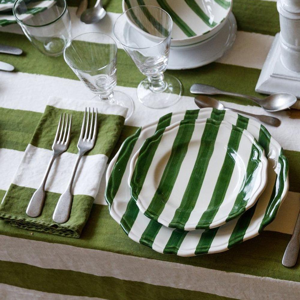 Green Striped Linen Napkin 3
