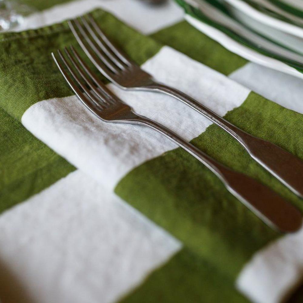 Green Striped Linen Napkin 4