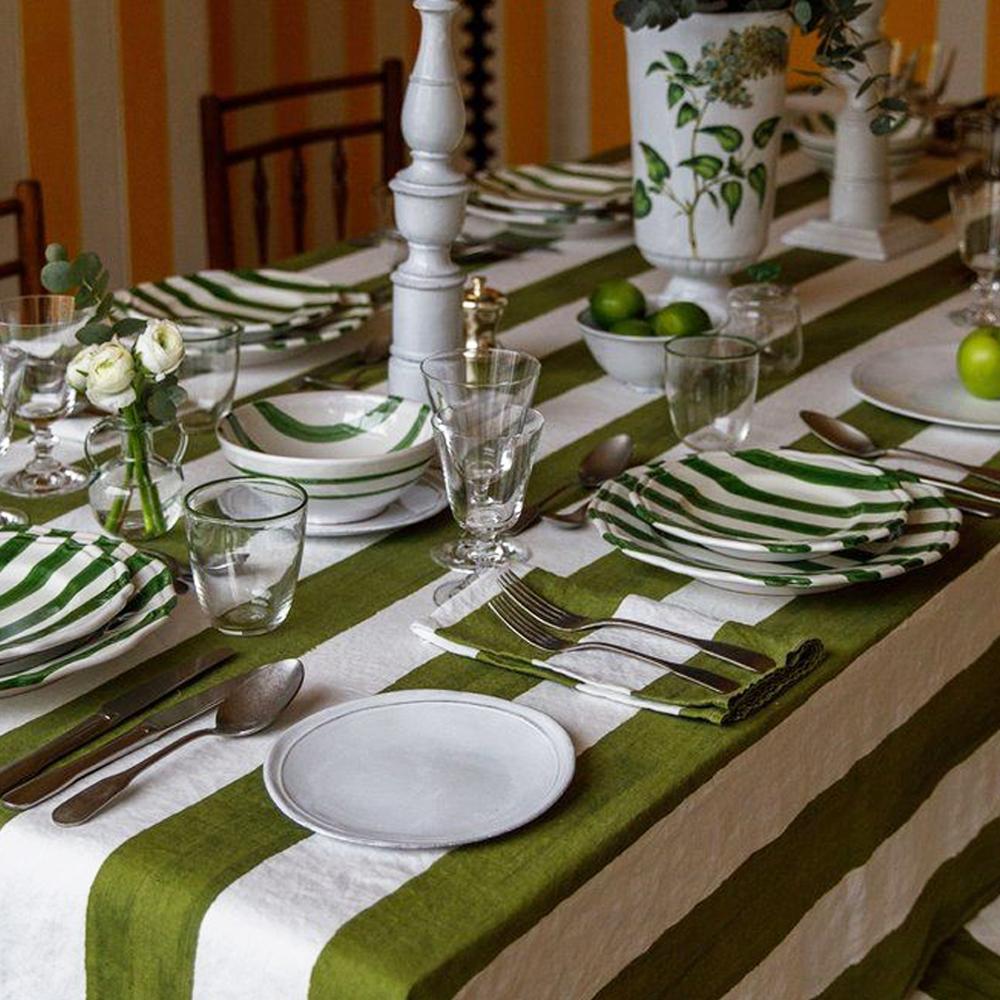 Green Striped Linen Napkin 5