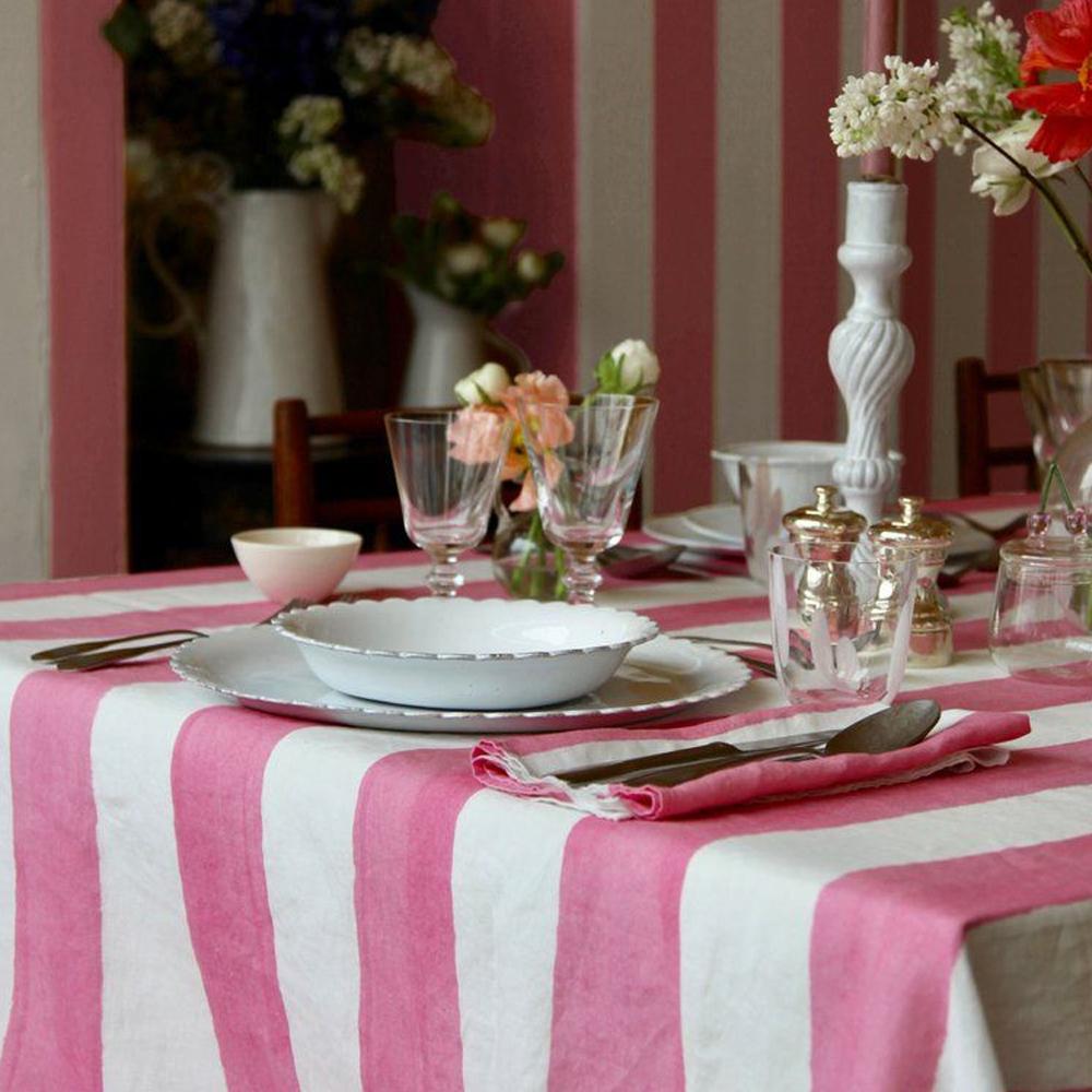 Pink Striped Linen Napkin 3