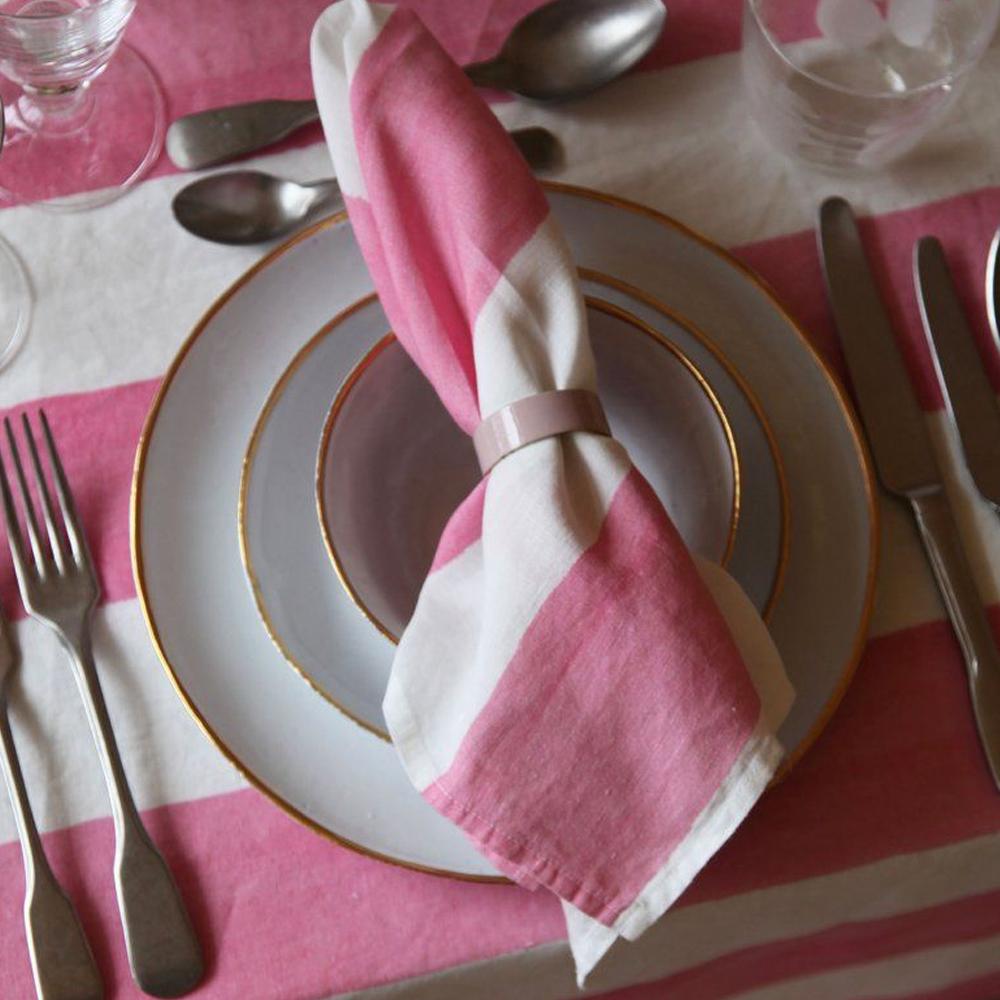 Pink Striped Linen Napkin 6