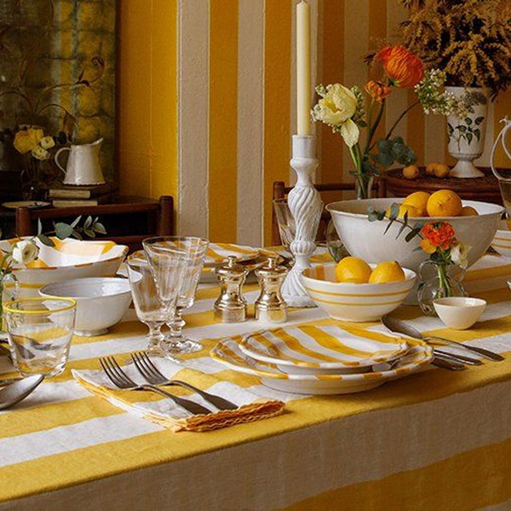 Yellow Striped Linen Napkin 3