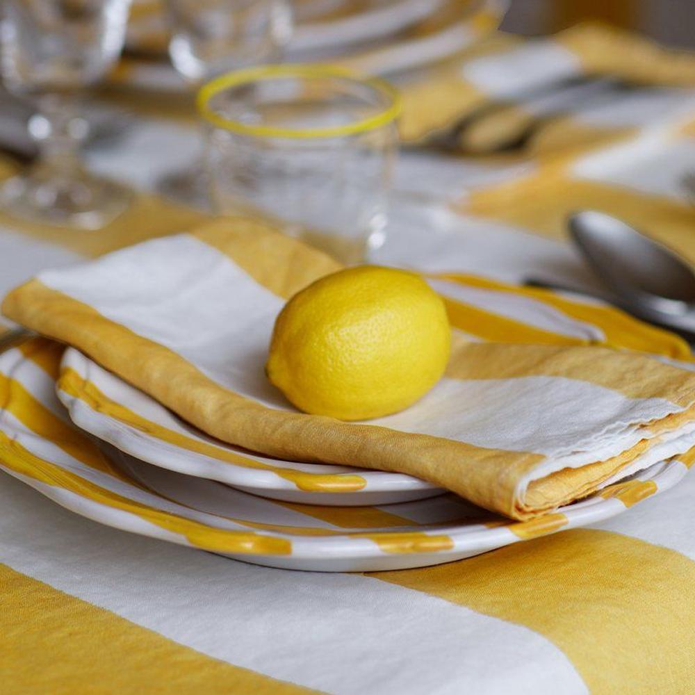 Yellow Striped Linen Napkin 4