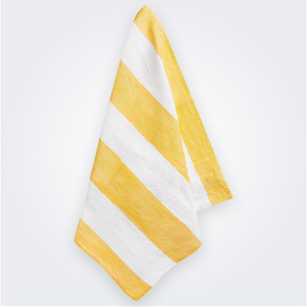 Yellow striped linen napkin product picture.