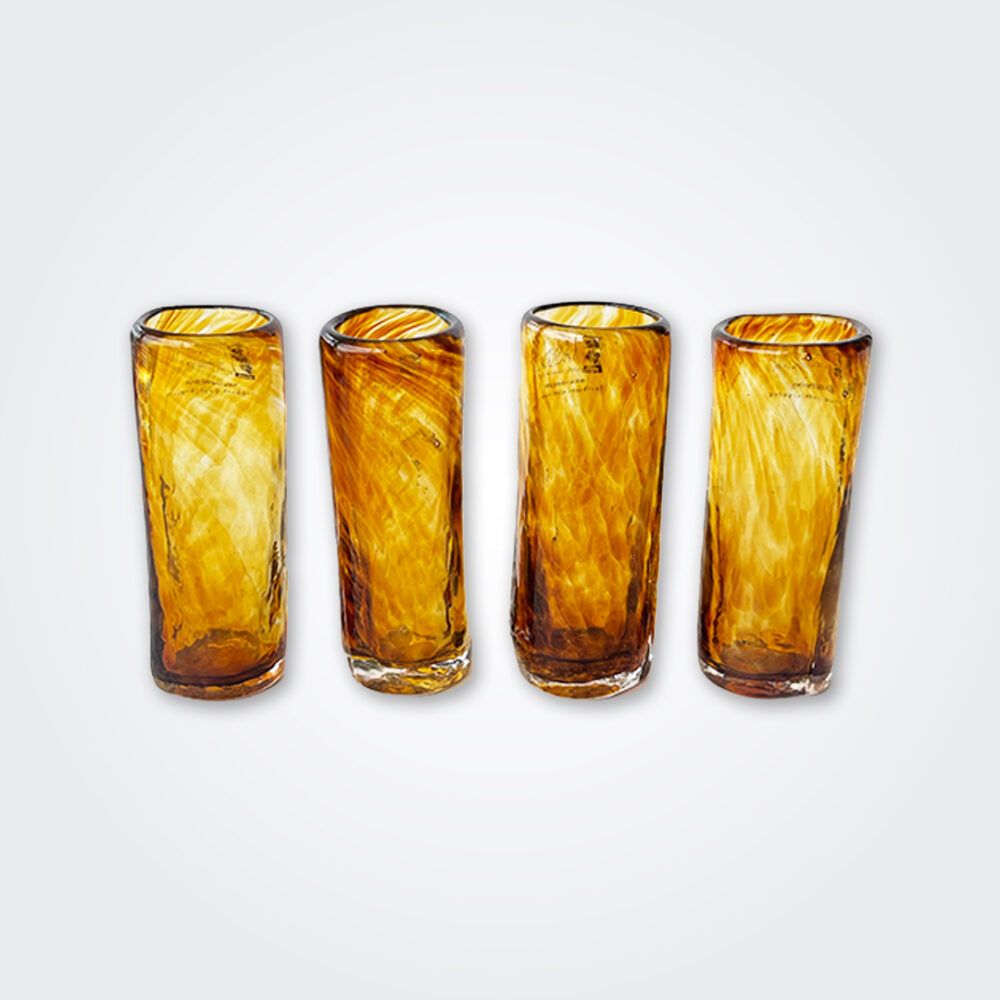 Amber glass shot set