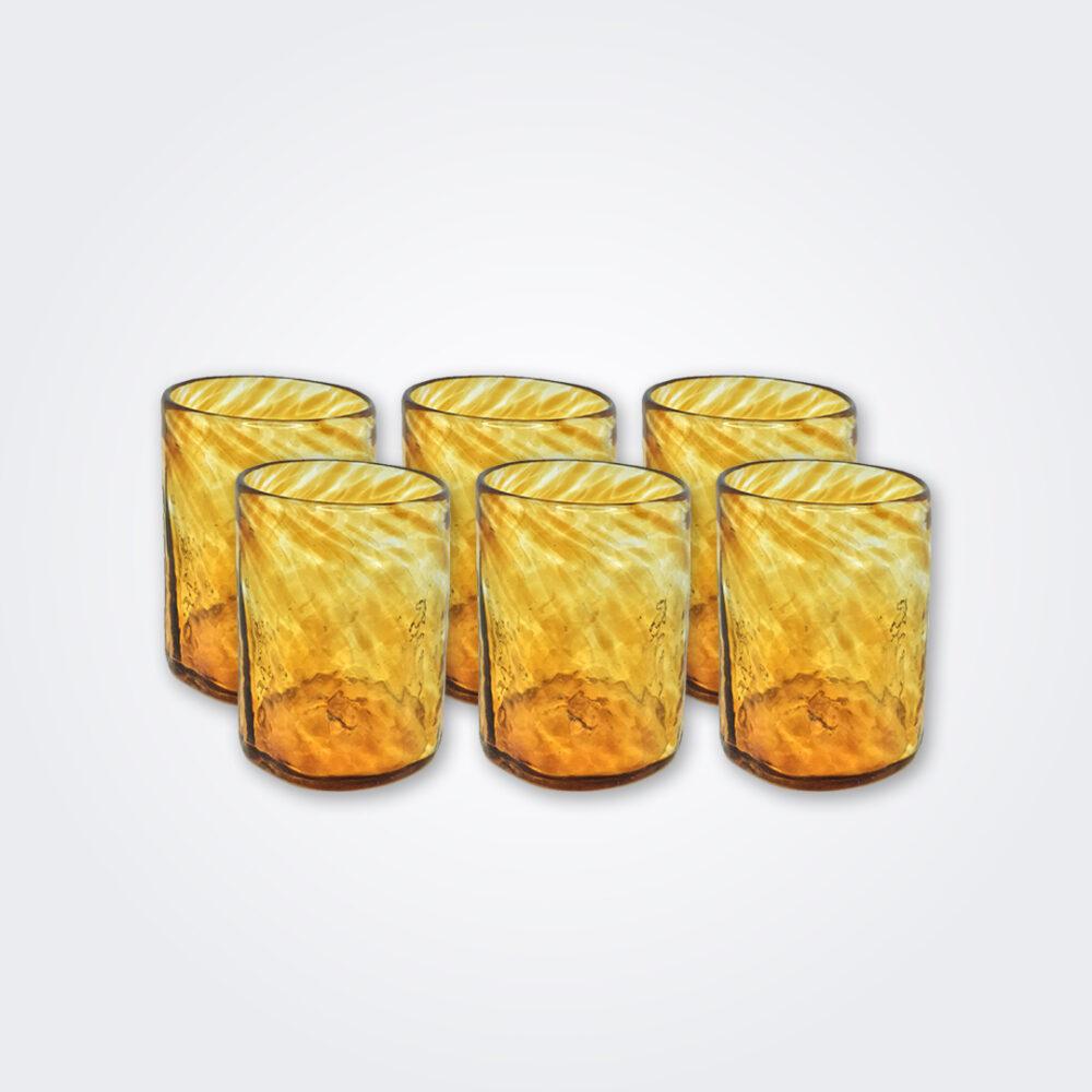 Amber glass tumbler set