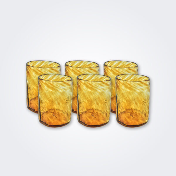 Amber glass tumbler set product picture.