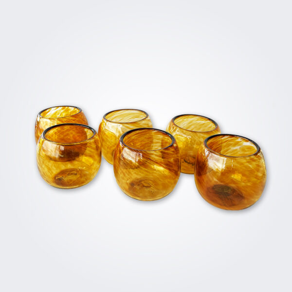 Amber stemless wine glass set product picture.