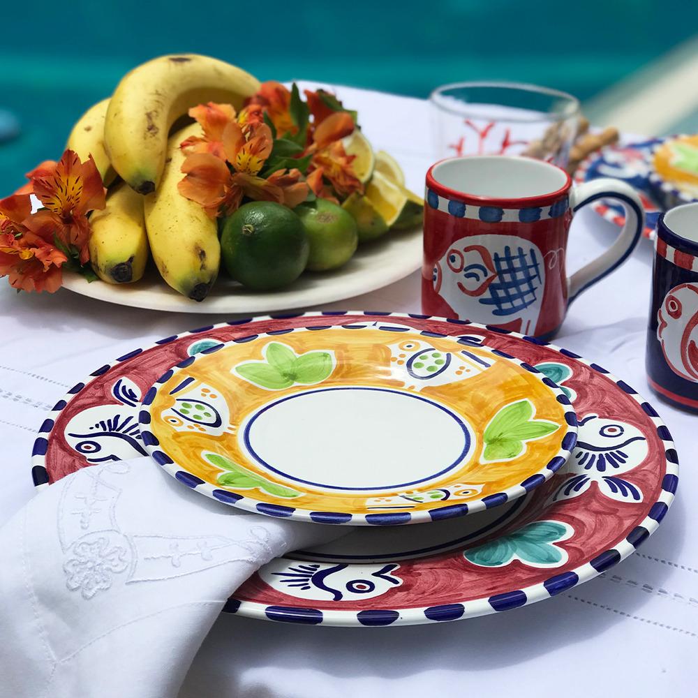 Blue fish ceramic dinner plate and bird salad plate