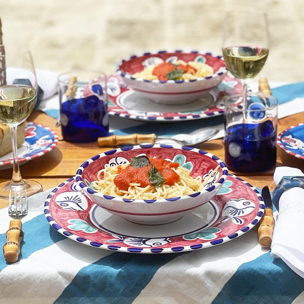 Blue fish ceramic pasta plate and blue dots glass tumbler set