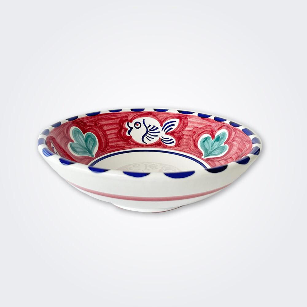 Blue fish ceramic pasta plate product picture