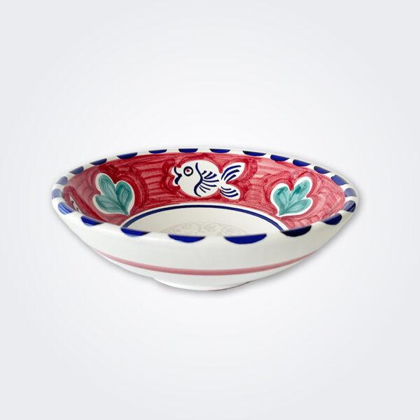 Blue fish ceramic pasta plate product picture.