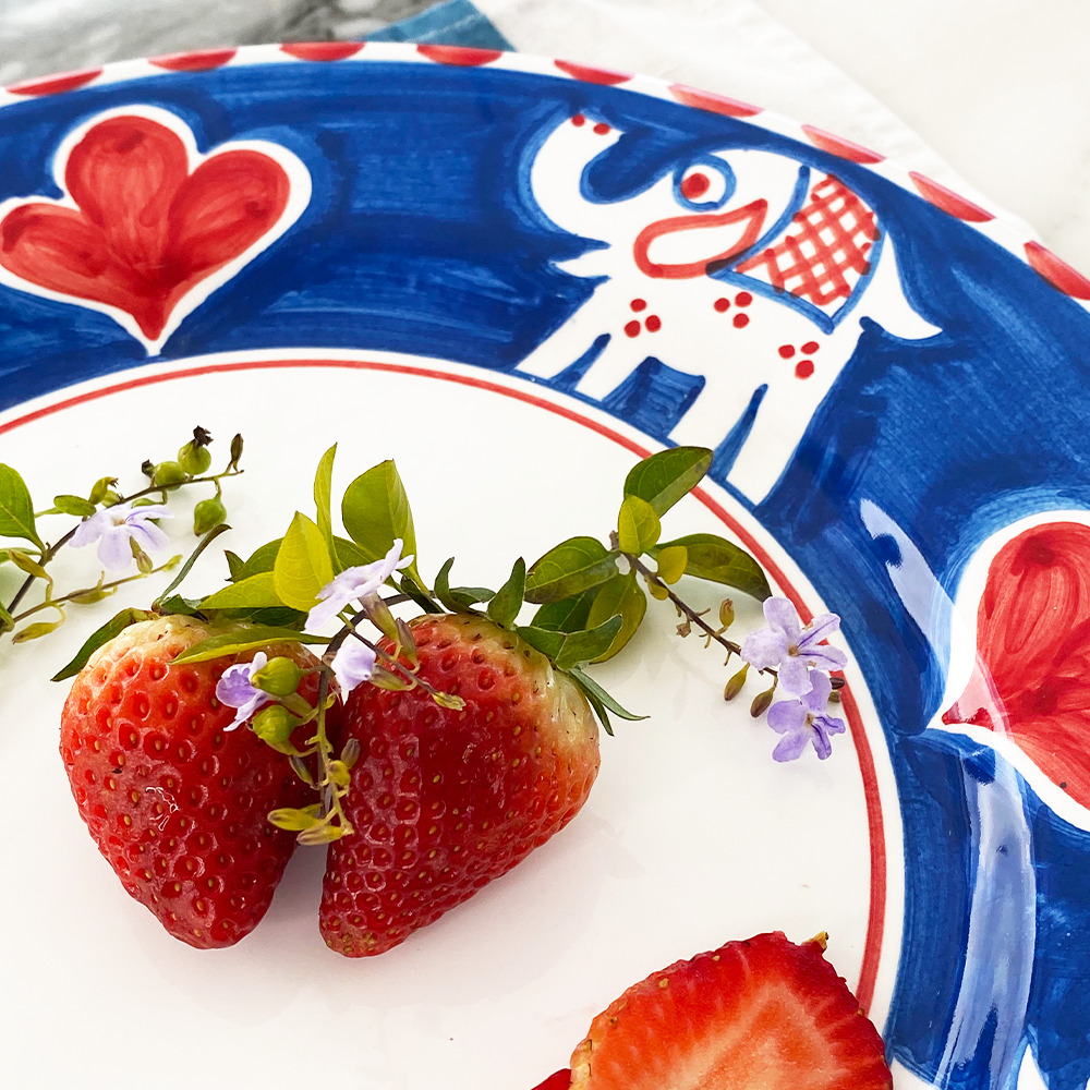 Elephant ceramic salad plate close up