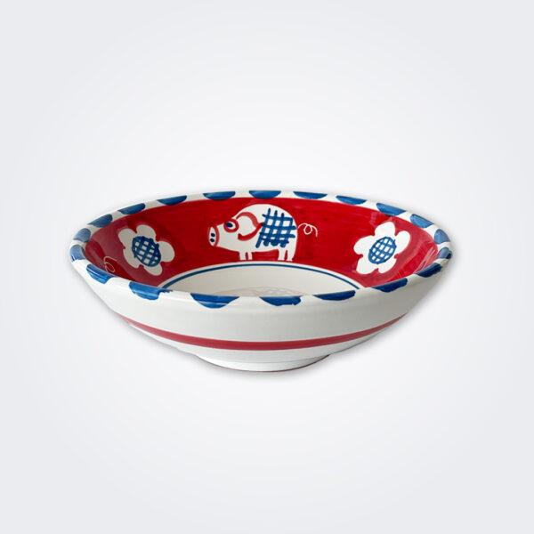 Pig ceramic pasta plate product picture.
