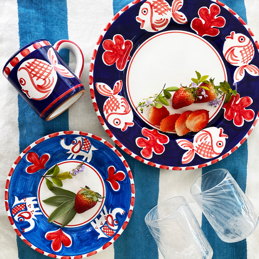 Red fish and elephant ceramic plates