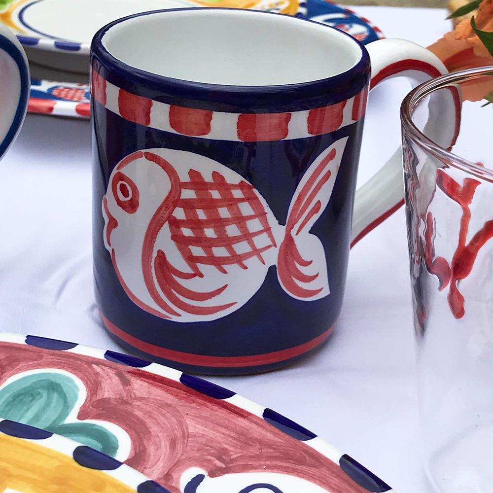 Red fish ceramic mug context