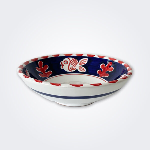 Red fish ceramic pasta plate product picture.
