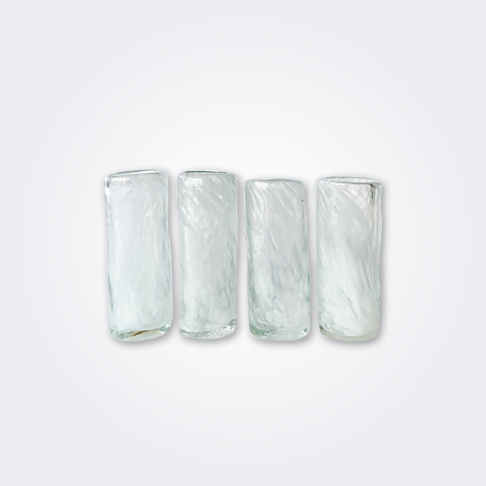White glass shot set product picture