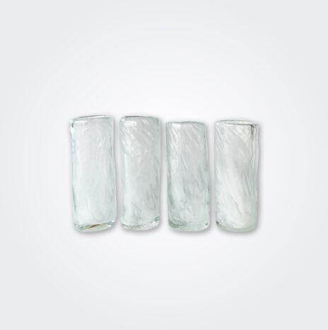 White Glass Shot Set