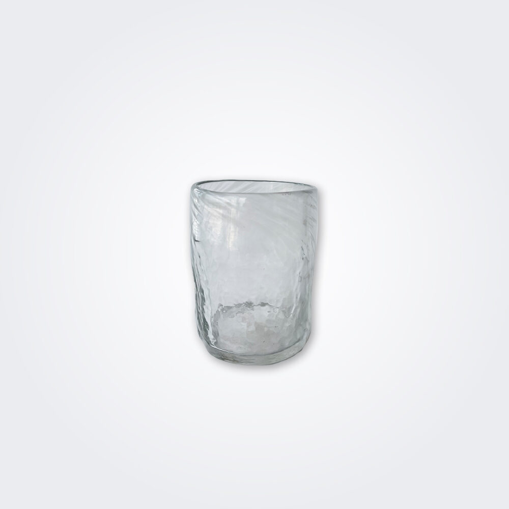 White glass tumbler set detail picture.