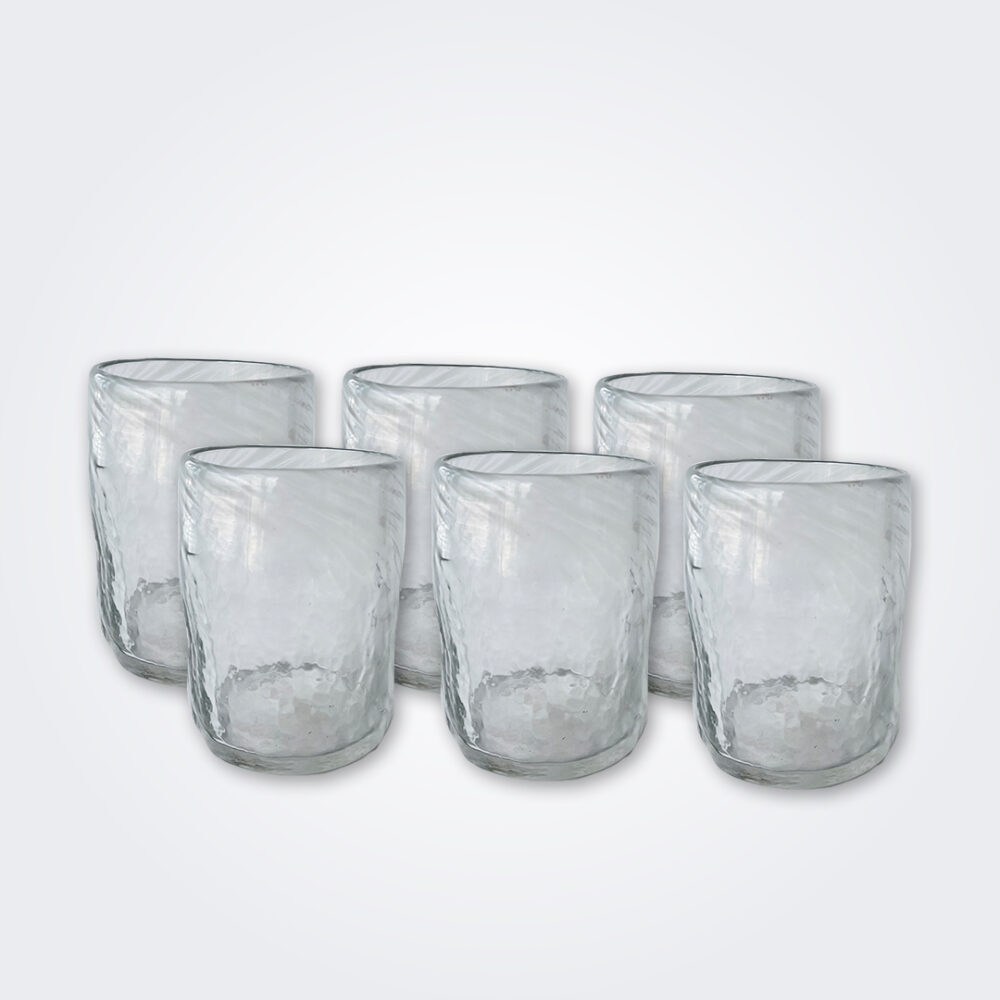 White glass tumbler set product picture.