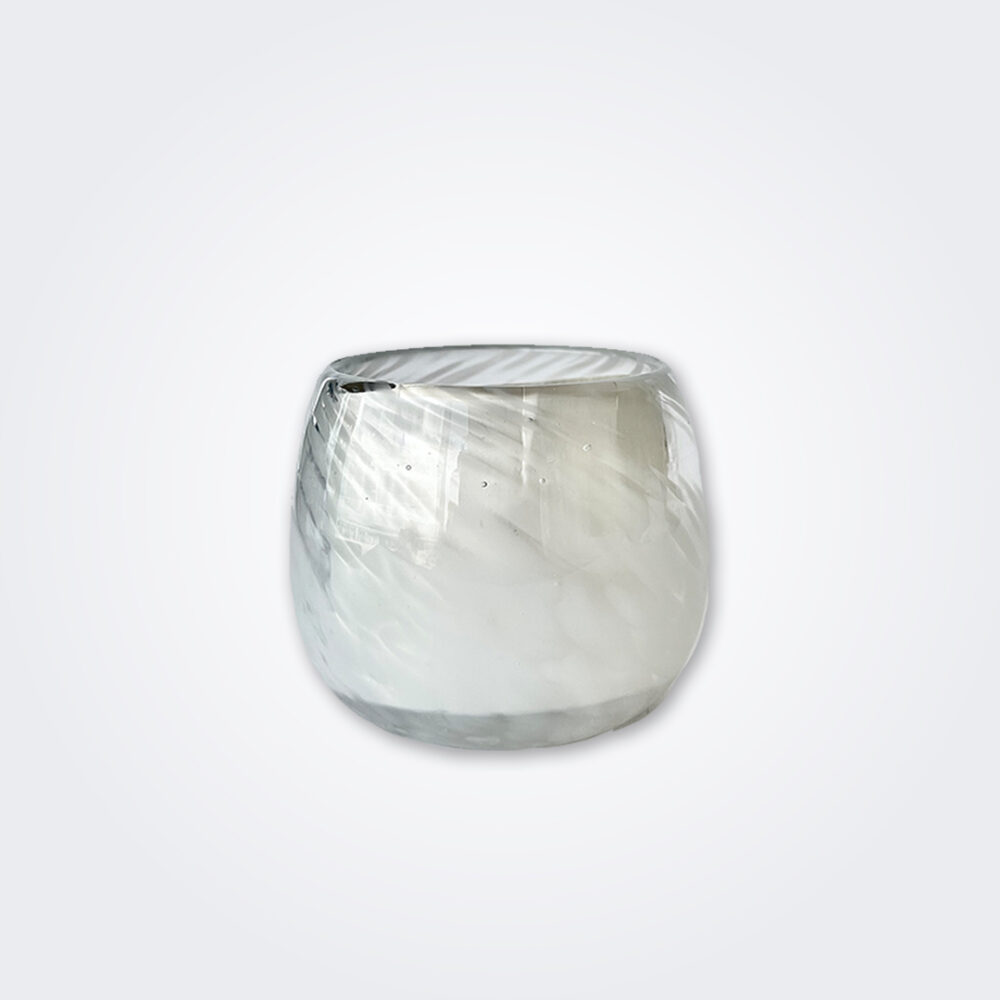 White stemless wine glass detail picture.