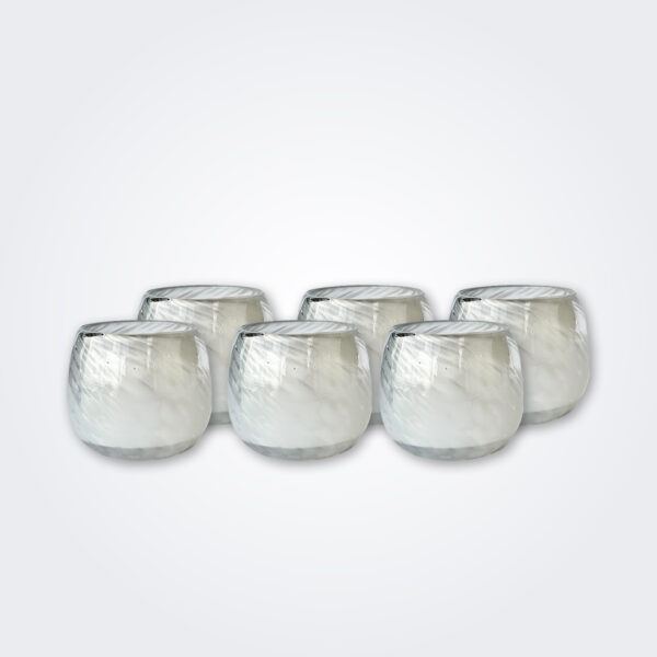 White stemless wine glass product picture.