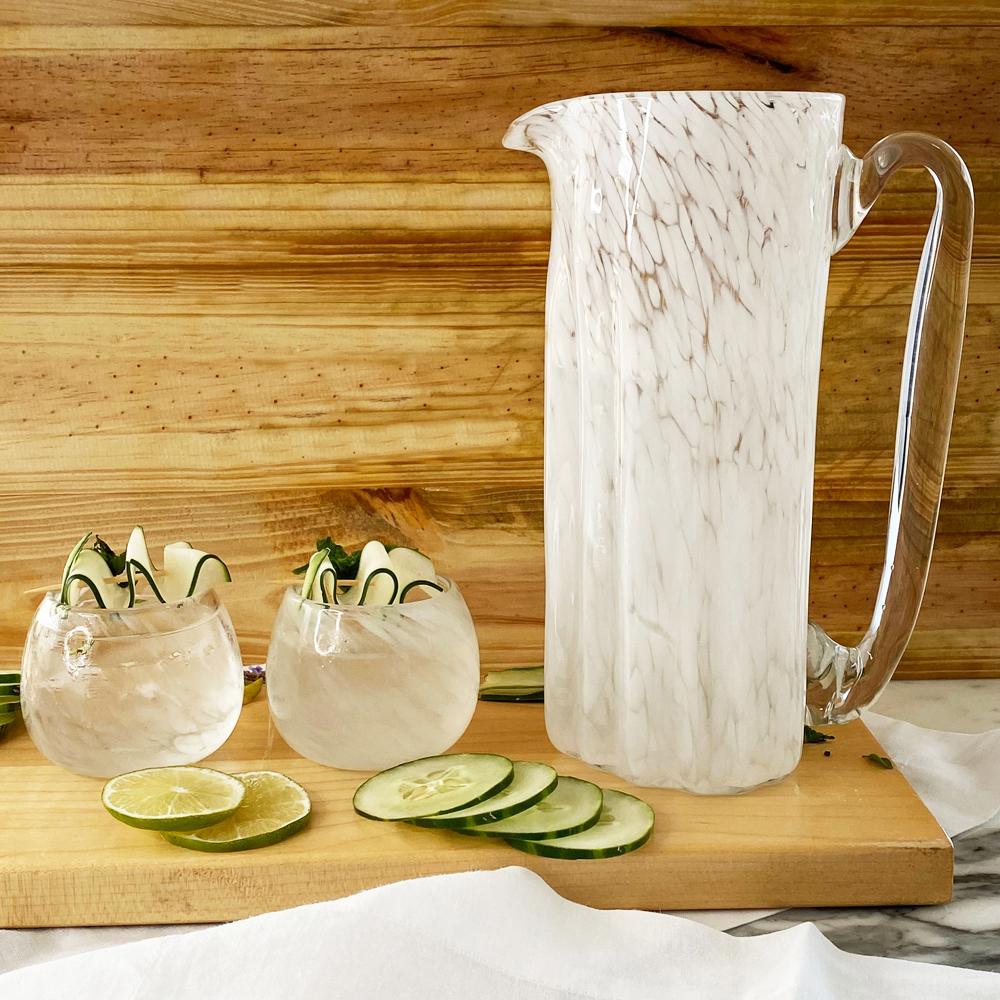 White glass pitcher context