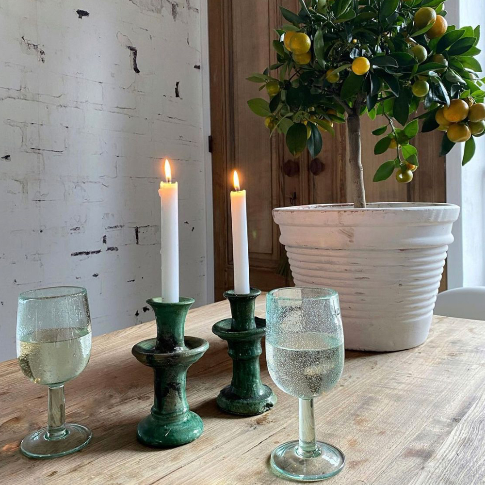 Green glazed tamegroute candle holder set context