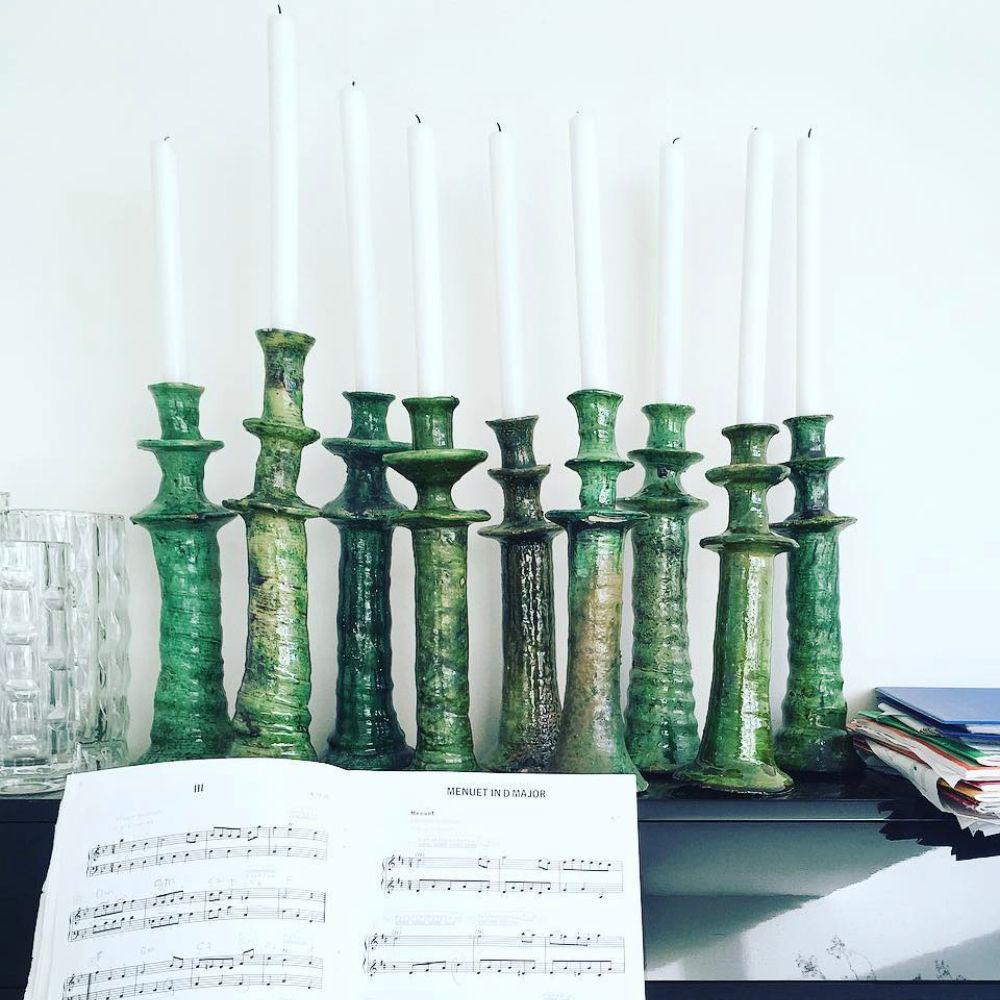 Medium glazed tamegroute candle holder set context 5.